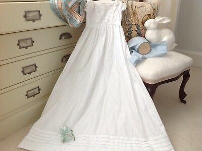 Antique White Broderie Anglaise Baby Christening Gown Self Pattern Cotton Fabric