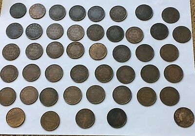Lot Of 46 Large Cents Canada & Province 1859 - 1919