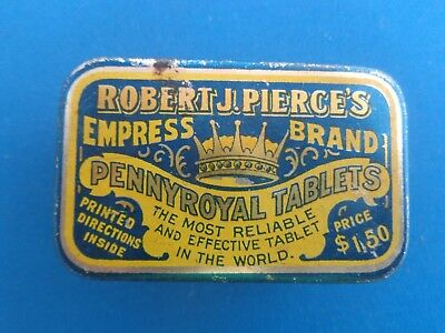 Antique Robert J. Pierces's Pennyroyal Tablets Empress Brand Medicine Tin