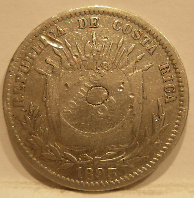 Costa Rica 1923 Silver 50 Centimos Counterstamped on 25 Centavos 1893