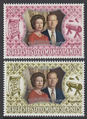 British  Solomon Islands  1972  Silver Wedding Set  Sg  234 -35  Unmounted Mint
