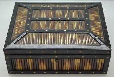 an antique Victorian Anglo-Indian Ceylon porcupine quill & ebony jewellery box