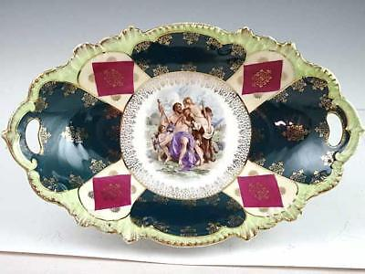 Large Antique Royal Bavaria PMB Center Bowl With Man Semi Nude Woman & Cherub