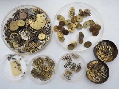Large Collection Of Antique Fusee And Other Pocket Watch Parts