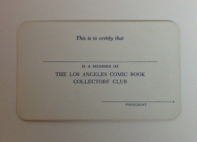 RARE! 1960's LAS ANGELES COMIC BOOK COLLECTORS CLUB Unused Membership Card