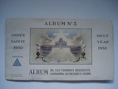 HOLY YEAR 1950 ALBUM No. 3 RELIGIOUS 96 STAMPS PRINTED IN ITALY VINTAGE