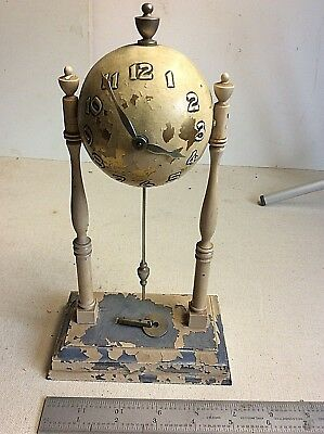 "RARE Antique Brass? Orb Pendulum Clock With Key *Not Working *10"" Tall"