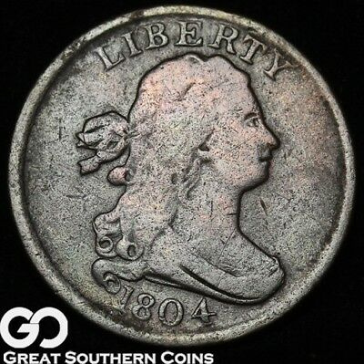 1804 Half Cent, Draped Bust, Scarce Early Copper