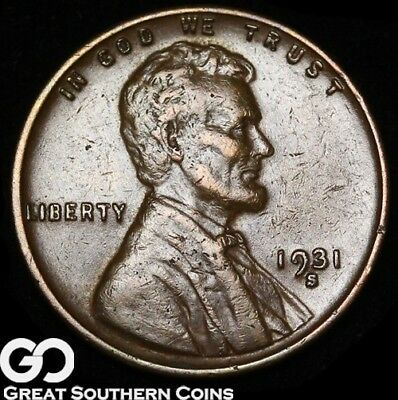 1931-S Lincoln Cent Wheat Penny, Scarce Key Date