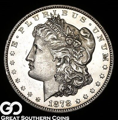 1878 7/8TF Morgan Silver Dollar, Proof-Like Look, Better Date 1st YR Issue!