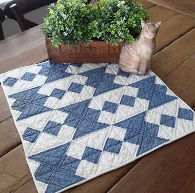 Beautiful Antique Blue & White Jacob's Ladder Farmhouse Table or Crib QUILT
