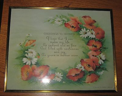 Original Framed 'greeting To Mother' Lithograph Poppies & Daisies Providence Ri