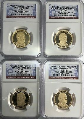2012 S Ngc Pf70 Presidential 4 Coin Set Arthur Harrison Cleveland 1St 2Nd Term