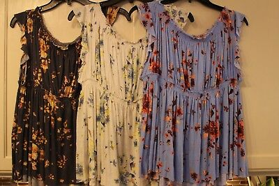 Nwt ~ Stunning Free People Floral Ruffled Cap Sleeve Blouse Top Shirt ~ S  M  L