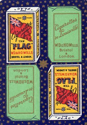 """WIDE RARE VINTAGE """"Flag (Wills) Cigarettes"""" SINGLE Playing Card"""