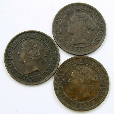 Lot of 3 Better Grade Canada Large Cents of Victoria -1859-1888- VF+/XF