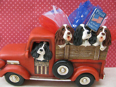 Handsculpted English Springer Spaniel 4th of July Parade Truck Figurine
