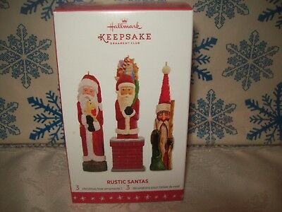 Hallmark Rustic Santas 2016 Christmas Club Keepsake Ornaments Set
