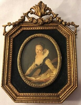 Illinois Moulding Co Ornate Gold Molded Picture Frames W/print Old Master