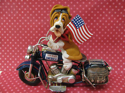 Handsculpted Gold Basset Hound 4th of July Parade Motorcycle Figurine