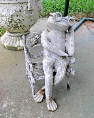 Rare Cast Iron Frog w/ Glasses on Bench Chair Sleeping Napping Garden Decor