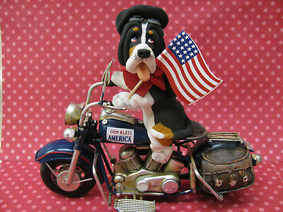 Handsculpted Black Basset Hound 4th of July Parade Motorcycle Figurine