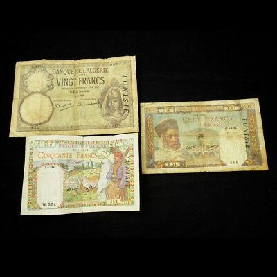 Lot of 3 French Tunisia Banknotes -VG to VF- 20, 50, & 100 Francs