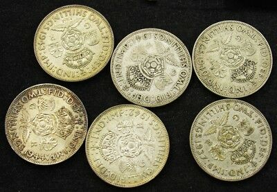 1937-1943 Great Britain Silver Florin Collection - 6 Different Dates, Great Set