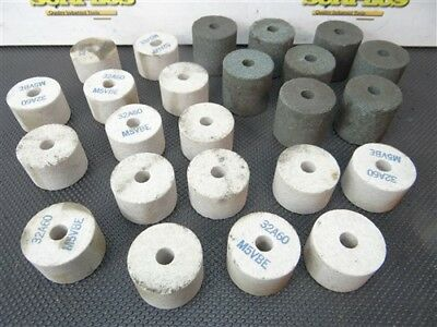 """Lot Of 24 Abrasive Grinding Wheels 1-1/2"""" X 1"""" & 1-1/2"""" X 1-1/2"""" W/ 1/4"""" Bores"""