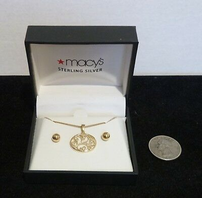 "Macy's 18kt Over Sterling Silver Earring & 16"" Pendant Necklace Set Ball Post"