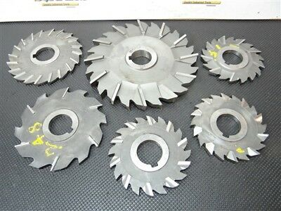 """Lot Of 6 Assorted Hss Stagger Tooth Milling Cutters 1/4"""" To 5/8"""" W/1-1/4"""" Bore"""