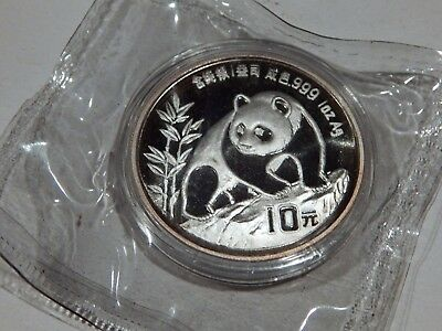 1990 One Ounce Chinese Silver Panda Coin In Capsule