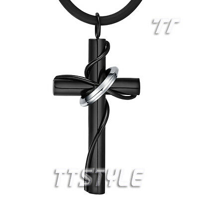 Quality TT 316L Black Stainless Steel Cross Pendant Necklace (NP258D)