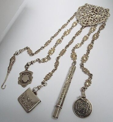Superb Rare Genuine English Antique 1901 Solid Sterling Silver Chatelaine Chain