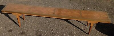 Unsigned Milo Baughman Four Panel Burl Wood Bench Metal Edges Mid Century Modern