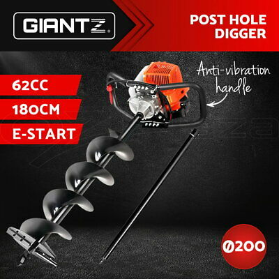 Giantz 62CC Petrol Post Hole Digger Drill Borer Fence Extension Auger Bits