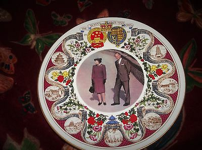 Vintage Gilded Display Plate Sutherland Queens State Visit To China 1986 Ex Cond