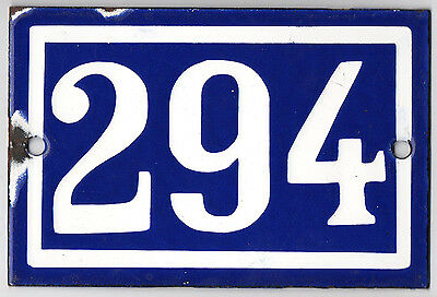 Old blue French house number 294 door gate plate plaque enamel steel metal sign