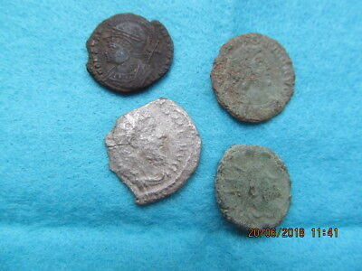 4 Roman Coins Metal Detecting Finds 1 Silver & 3 Bronze