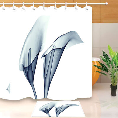 Calla Lily X Ray Flower Shower Curtain Set Bathroom 72 Waterproof Fabric Hooks