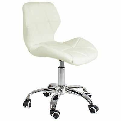 REBOXED Cushioned Computer Desk Office Chair Chrome Legs Lift Swivel Milky White