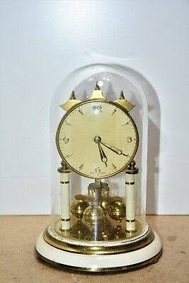 German 400 Day Anniversary Torsion Mantle Clock with Glass Dome Needs attention