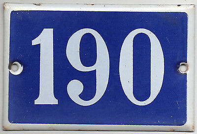 Old blue French house number 190 door gate plate plaque enamel steel metal sign