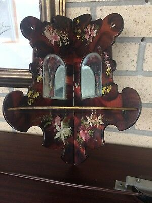 Small Victorian Corner Wall Mounted Shelf & Mirrors With Hand Painted Decoration