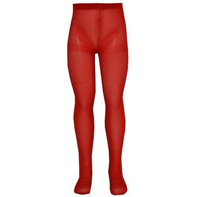 Nicole Little Girls Red Solid Color Soft Stretchy Opaque Tights 4/6