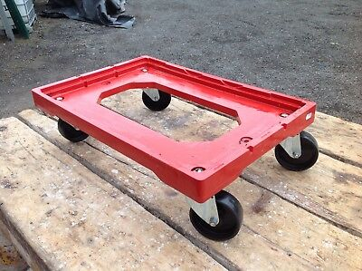 Heavy Duty Plastic Trolley Dolly Wheels - 600x400mm Boxes, Totes Engine Skid