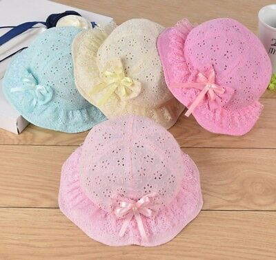 Infant Girls Mesh Baby Embroidered Beach Cap Bow Flower Cute Summer Bucket Hat