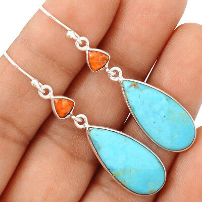 Sleeping Beauty Turquoise & Coral 925 Sterling Silver Earring Jewelry EE141464