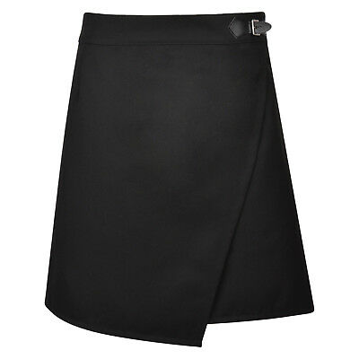 Girls School Skirt Black Teen Wrap Adjustable Waist Ex Uk Store 9-16 Years New