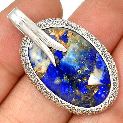 Afghani Copper Lapis 925 Sterling Silver Pendant Jewelry PP178466